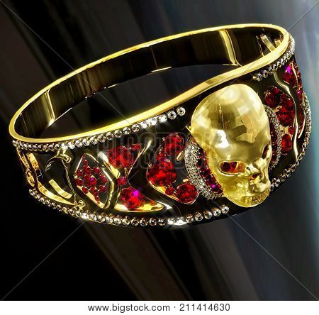 Jewelry halloween gold skull ring with diamond and red gems. Antiques fingers ring from pirate treasure or hoard may be magic vampire artifact. Luxury bijouterie for biker, reflection. 3D rendering. stock photo