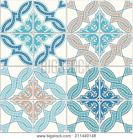 Portuguese tiles Quatrefoil vector pattern. Tangled modern pattern based on traditional oriental arabic patterns - arabesque. Seamless vector background. Moroccan Turkish Lisbon floor tiles. stock photo