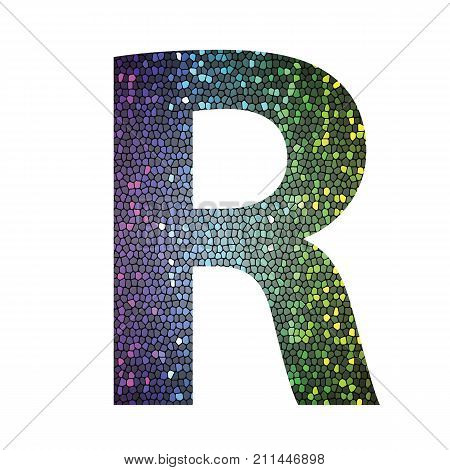 colorful illustration with letter R of different colors on a white background stock photo