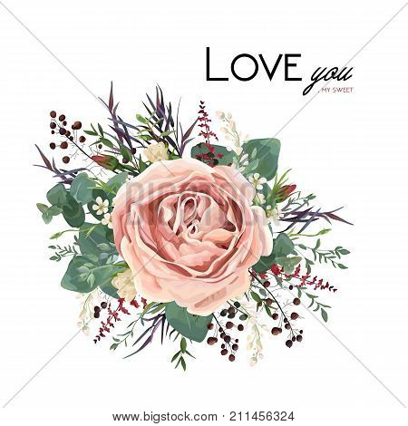 Vector floral watercolor style card design: Lavender antique pink powder garden Rose Eucalyptus seeded greenery thyme agonis purple leaf berry bouquet element. Vector invite poster lovely copy space stock photo