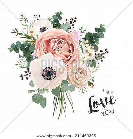 Flower Bouquet floral bunch vector boho design object element. Peach creamy pale pink Anemone Poppy Rose flowers berry Eucalyptus herb mix rustic floral elegant wedding card. All elements editable