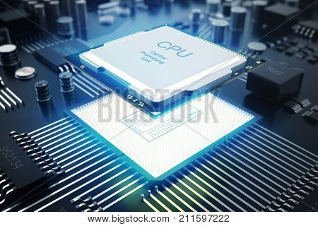 3D rendering Circuit board. Technology background. Central Computer Processors CPU concept. Motherboard digital chip. Tech science EDA background. Integrated communication processor. Information CPU engineering stock photo