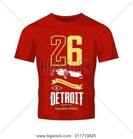 Vintage sport vehicle vector logo isolated on red t-shirt mock up. Premium quality number logotype tee-shirt emblem illustration. Detroit, Michigan street wear superior retro tee print design. stock photo