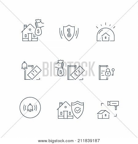 House burglary, break in home, security service, video camera surveillance, alarm bell guard system, robbery prevention, intrusion protection, property insurance, pick up door lock, vector line icon stock photo