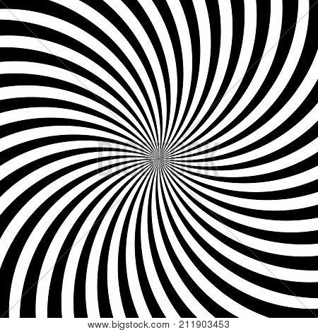 Hypnotic swirl lines or vortex spin or black and white circular motion twirls. Vector optical illusion pattern background of spiral rotating psychedelic hypnosis lines in hypnotic motion stock photo