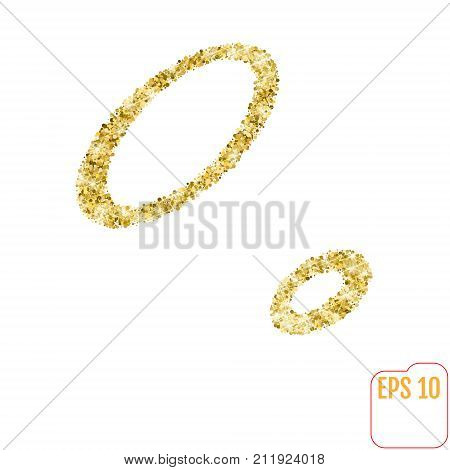 Gold rush. Gold alphabetic letter o. Vector gold alphabet. Font with golden glitter. Letter o on white background. stock photo