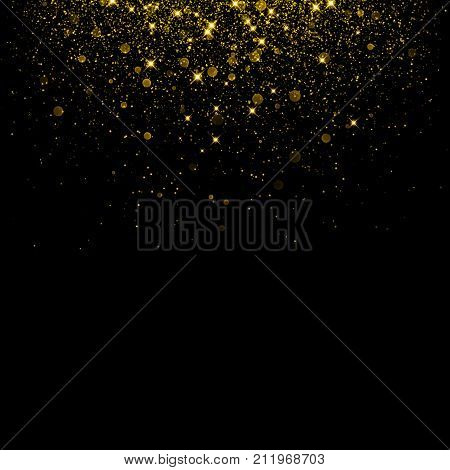 Gold Glitter Background With Sparkle Shine Confetti.