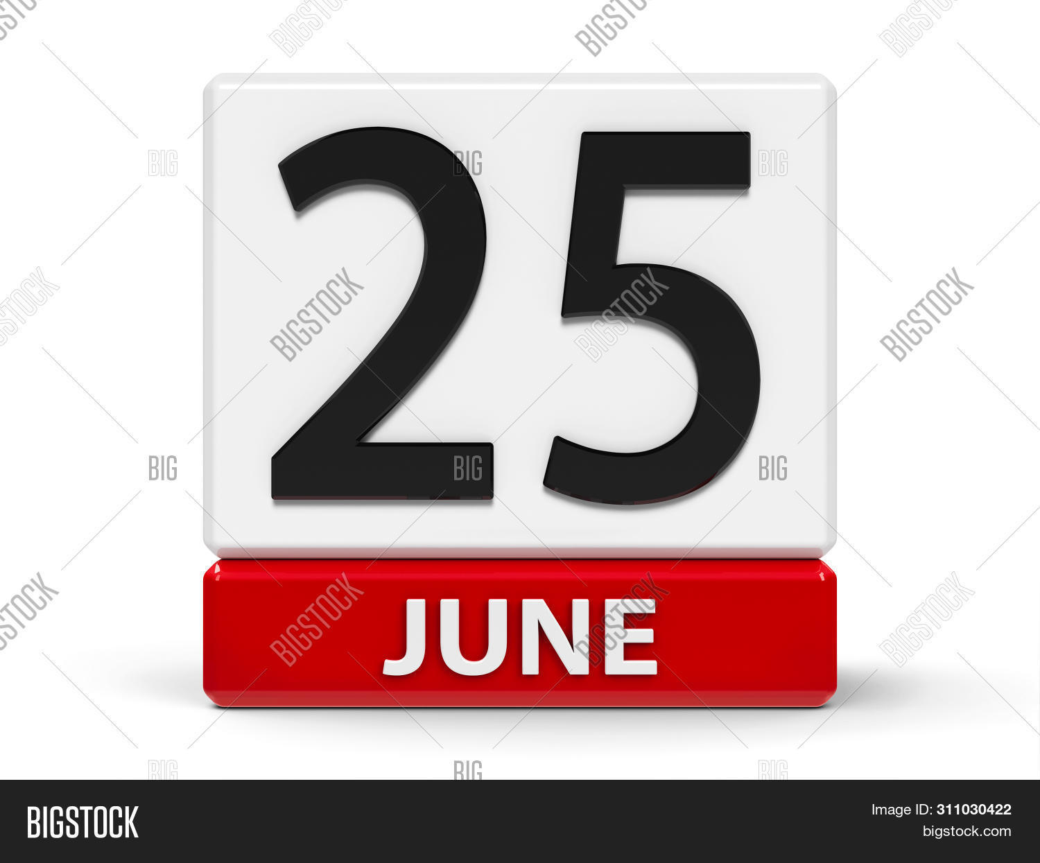 Red And White Calendar Icon From Cubes - The Twenty Fifth Of June - On A White Table - Day Of The Se