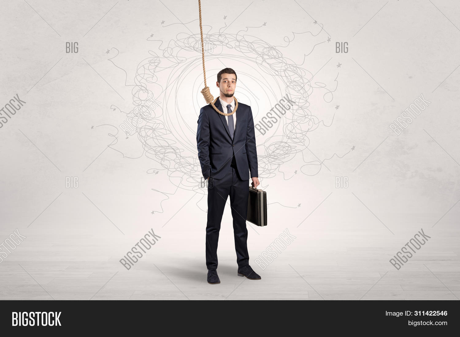 Burnout young elegant businessman trying to suicide with doodle concept