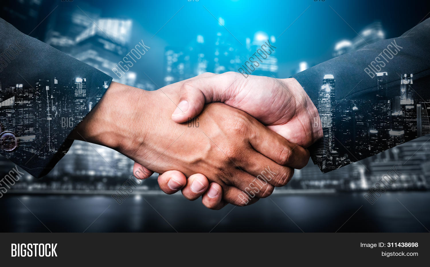 Double Exposure Image Of Business People Handshake On City Office Building In Background Showing Par