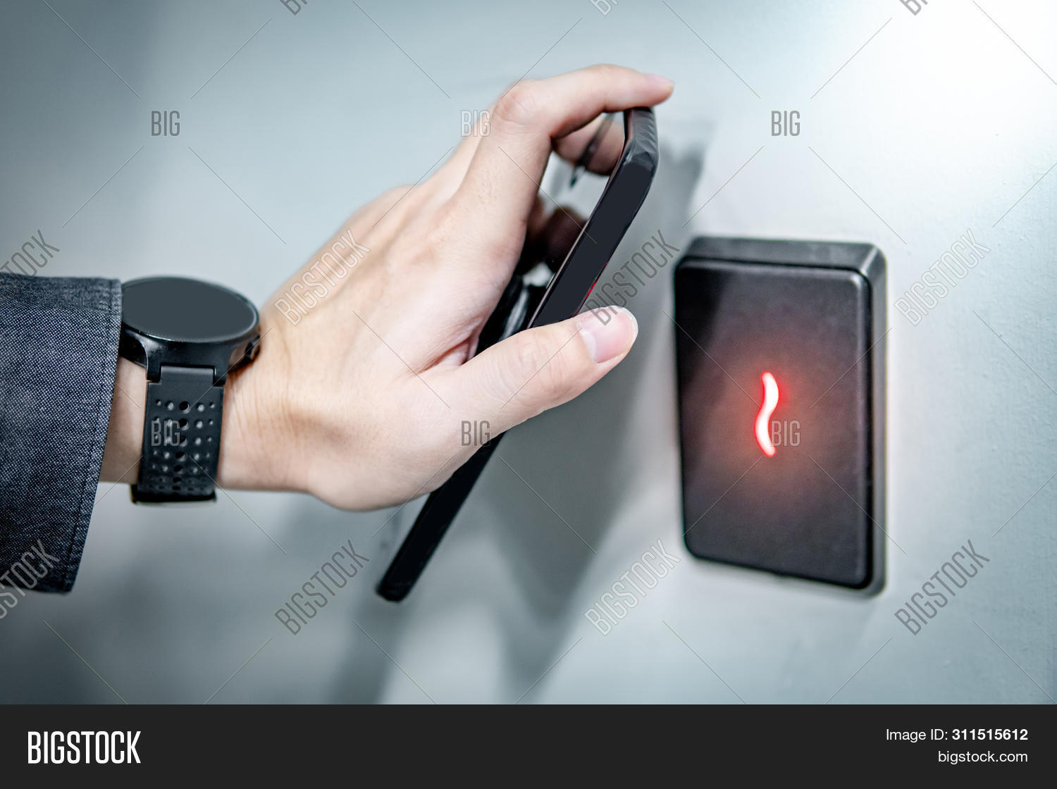 Male Hand Using Smartphone For Sensor Scanning. Infrared Sensor Technology For Automatic Door Access
