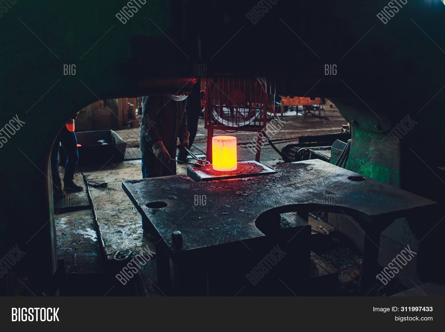 The Process Of Forging Metal In The Production Of Heavy Molded Metal Products. Blacksmithing. Patter