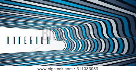 Abstract 3D trendy modern lines in perspective vector background, dimensional design cool element, funky style layout for ads posters banners and covers, perfect abstraction. stock photo