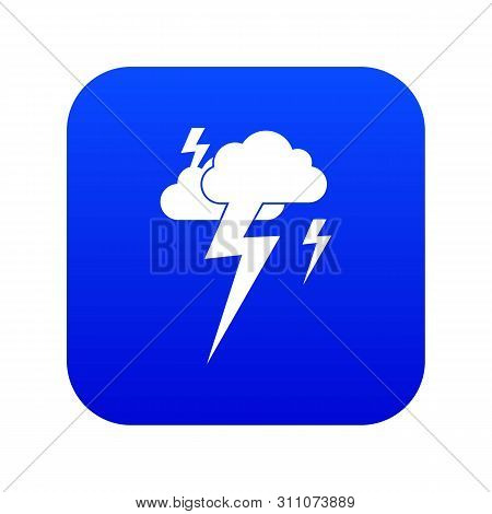 Cloud and lightning icon digital blue for any design isolated on white illustration stock photo