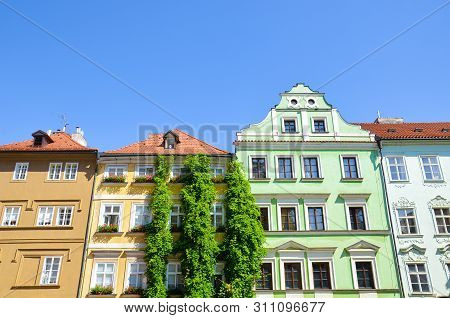 Beautiful traditional buildings with colorful facades in the historical center of Prague, Czech Republic. Czech capital city. Mala Strana, Lesser Town of Prague, Hradcany. Landmarks. Tourist place stock photo