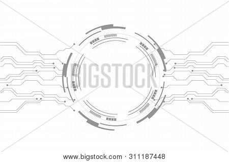 Vector abstract futuristic circuit board on white background, Vector circuit board and communication concept for technology background stock photo