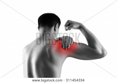 Shoulder pain, ache in a man's body, sports injury concept, isolated on white background, painful area highlighted in red stock photo