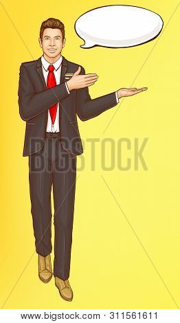 Pop art steward, flight attendant, air hostess man in strict black suit, white shirt, red tie and speak cloud invite and welcome passengers, vector Illustration on yellow background, retro comic style stock photo