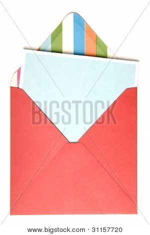 Open red envelope with card inside on white background. stock photo