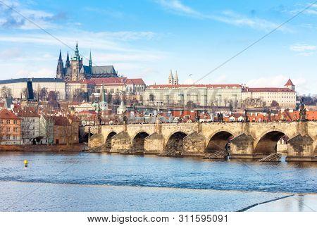 Hradcany with Charles bridge, Prague, Czech Republic stock photo