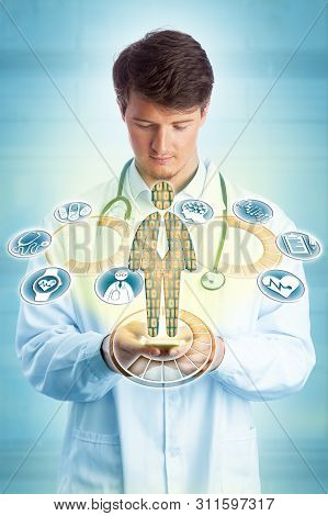 Young male concentrated diagnostician accessing lab-grade diagnostic data on a hand-held smart device. Health care and IT concept for hand held diagnostics, connectivity, telemedicine, mobility. stock photo