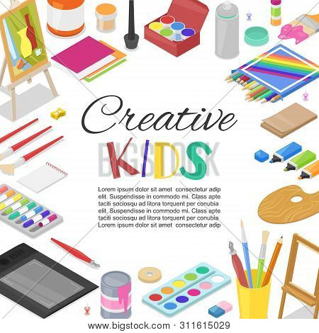 Kids created art, education, creativity class concept. Vector banner, poster or frame background with lettering, pencil, brush, paints and watercolor creative art supplies. stock photo