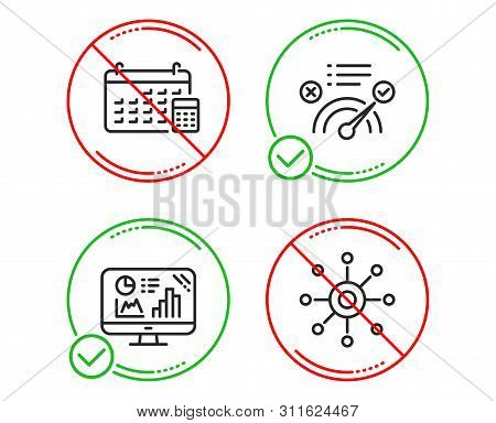 Do or Stop. Correct answer, Calendar and Analytics graph icons simple set. Multichannel sign. Approved, Calculator device, Growth report. Multitasking. Technology set. Line correct answer do icon stock photo