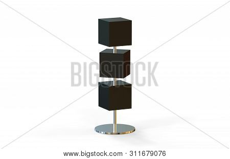 Blank box signboards with pole stand , blank mock up , signage boards or advertising square billboard boxes isolated on white background, 3d illustration stock photo