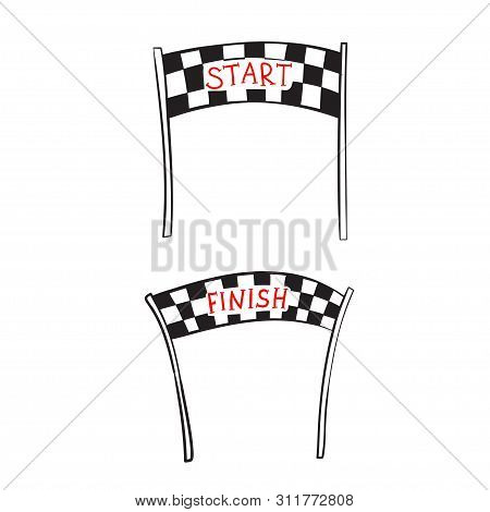 Vector illustration of start and finish line banners, streamers, arch gate, flags for outdoor sport event - competition race, run marathon. Isolated doodle cartoon illustration. stock photo