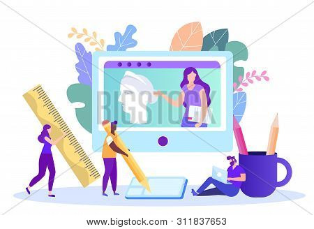 Online Lesson on Art and Drawing. Distance Learning. Lesson Online. E-Learning. Art Training. New Technologies. Vector Illustration.Teacher on Monitor Screen. Masterclass. Study Art. stock photo