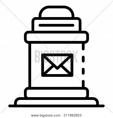 Post box icon. Outline post box icon for web design isolated on white background stock photo