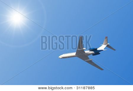 Tu-134 is a twin-engined airliner stock photo