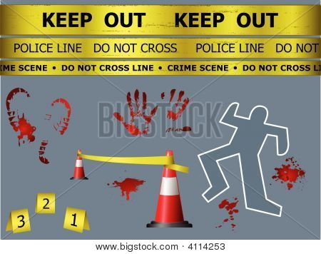 Caution sign lines body contour blood marks and cones at the crime scene stock photo