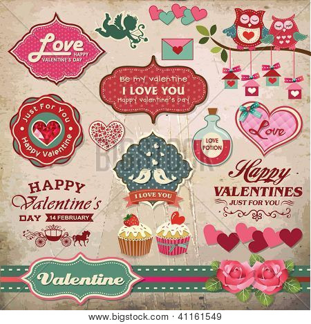 Valentine\'s day labels, icons elements collection