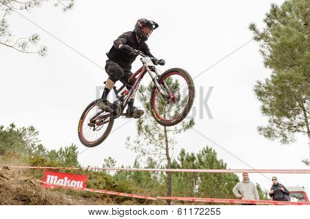 PONTE DE LIMA PORTUGAL – MARCH 9 2014: Ronan Vawdrey Taylor during the Ponte de Lima International DHI 2014. ** Note: Soft Focus at 100%, best at smaller sizes stock photo