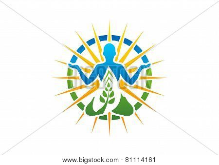 Meditation Yoga Logo Wellness Symbol Fitness Health Zen Icon Stock