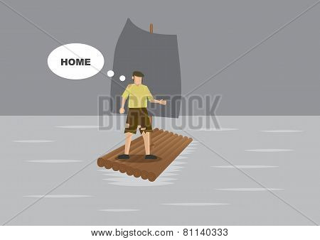 Vector cartoon of ragged shipwreck survivor stranded on a raft in the sea and feeling desperate and homesick. stock photo