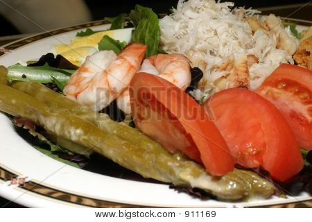 shrimp and crab louie a pleasent way to begin a fine dining experiance stock photo