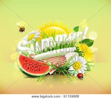 Summer, time for a picnic, watermelon, nature, outdoor recreation, a tablecloth and sun behind, gras