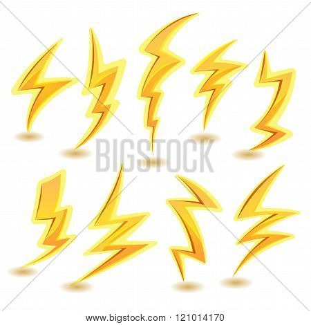 Illustration of a set of funny cartoon lightning bolts icons for thunderstorm and tempest in sky scenics and game ui elements stock photo