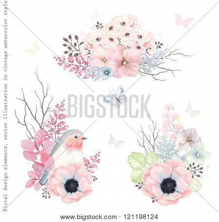 Collection vector decorative design of flowers, Robin bird and leaves in vintage style with butterfl