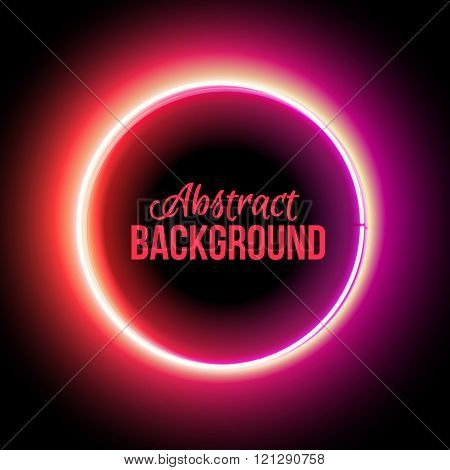 Neon circle. Neon red light. Vector electric frame. Vintage frame. Retro neon lamp. Space for text. Glowing neon background. Abstract electric background. Neon sign circle. Glowing electric circle. stock photo