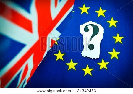 Brexit UK EU Referendum concept with flags and topical message stock photo