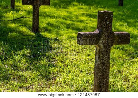 Grave Yard of the Old Abandoned Ruins of the Sacred Heart Catholic Mission, in Oklahoma.  Established 1879.