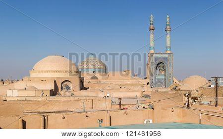 Jameh Mosque, Masjed-i Jame' Mosque, Yazd, Iran. Panorama. stock photo