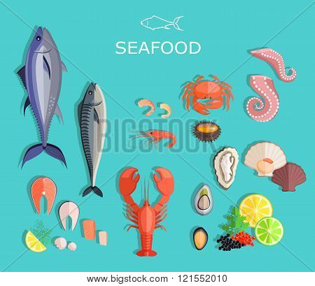 Seafood set design flat fish and crab. Seafood fish, seafood platter, lobster and crab, food oyster, fresh seafood, shrimp and menu seafood, octopus animal, shellfish lemon, fresh seafood illustration stock photo