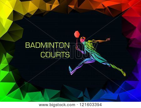 Sports Poster With Abstract Badminton Player
