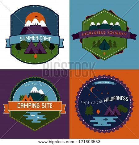 Set Of Camping Badges And Emblems With Mountain Lake