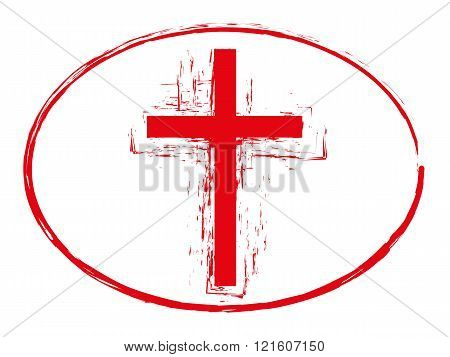 Grunge cross stamp style, christian cross symbol isolated on white background, vector illustration 1