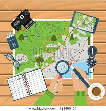 Trip Plan Vector, Travel Guide